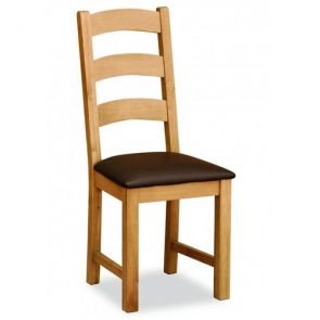 Oakhampton Petite Ladder Chair With Brown Pu
