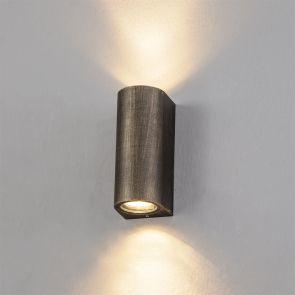 Sylvia Curved Wall Lamp, 2 x GU10, IP54, Black/Gold IL2227HS
