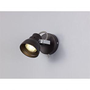 Tatum Adjustable Round Spotlight, 3 x GU10 (Max 10W LED),  Bronze/Polished Chrom