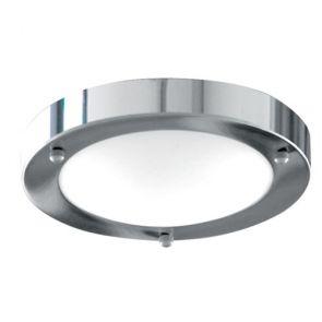 Bathroom Flush Ip44 1 Light - 31cm Chrome Domed Wht Glass BPOSL172