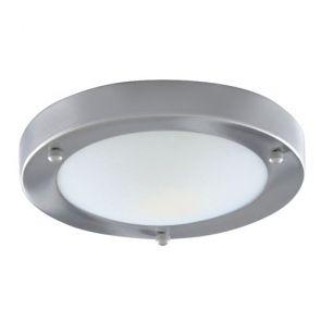Bathroom Flush Ip44 1 Light - 31cm Sat/Silver Domed Wht Glass BPOSL173