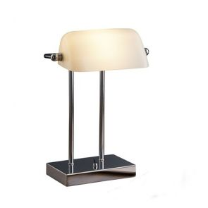 Bankers Lamp - Chrome, White Glass BPOSL186