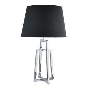 Table Lamp Crossed Frame, Chrome, Black Tapered Shade BPOSL261
