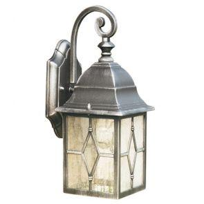 1 Light Outdoor Wall Bracket, Black Silver, Leaded Glass BPOSL031