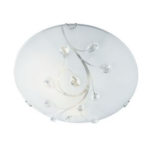 Flush 30cm Round Glass With Crystals BPOSL393
