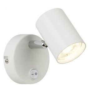 (Dim) 1 Light Cylinder Head Spot Wall Bracket, White & Chrome BPOSL587