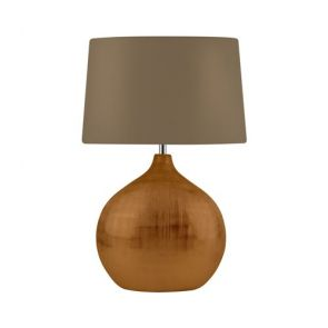 1 Light Bronze Table Lamp With Round Base, Brown Shade BPOSL774