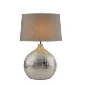 1 Light Chrome Table Lamp With Round Base, Grey Shade BPOSL775