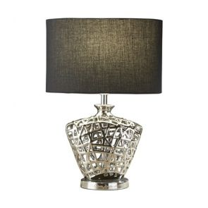 Table Lamp - Chrome Cut Out Decorative Base With Black Oval Drum Shade BPOSL793