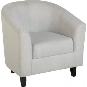 Taylor Tubs Tub Chair - Grey Herringbone Fabric