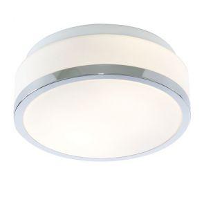 Bathroom - Ip44 2 Light Flush, Opal White Glass Shade With Chrome Trim Dia 2 BPO