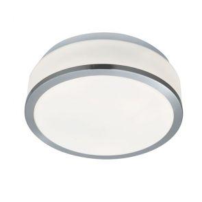 Bathroom- Ip44 2 Light Flush, Opal White Glass Shade, Satin Silver Trim Dia BPOS