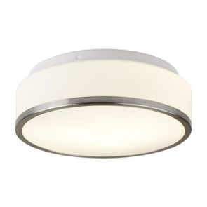 Bathroom - Ip44 2 Light Flush, Opal White Glass Shade With Satin Silver Trim BPO
