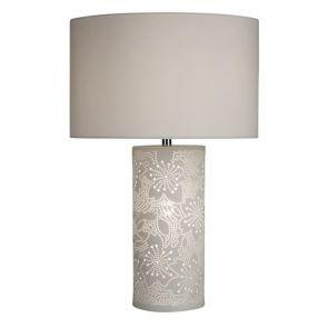 Patterned White Ceramic Dual Light Table Lamp BPOSL1206