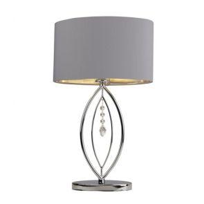 Chrome Table Lamp,  Grey Oval Shade,  Silver Interior Shade BPOSL1466
