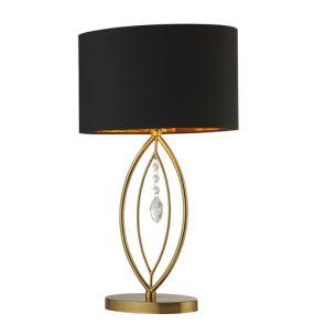 Gold Table Lamp,  Black Oval Shade,  Gold Interior Shade BPOSL1467
