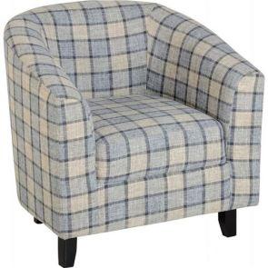 Taylor Tubs Tub Chair - Grey/Check Fabric