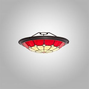 Alysia, 35cm Non-electric Uplighter Shade, Crachel/Red/Clear Crystal Centre IL53