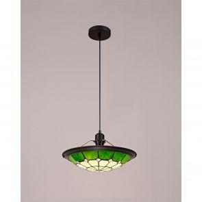 Alysia 1 Light Pendant E27 With 35cm Shade, Crachel/Green/Clear Crystal  IL7000K