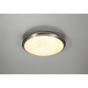Bess Ceiling, 30cm 1 x 12W LED, 3000K, 750lm, IP44, Satin Nickel/Crystaline,