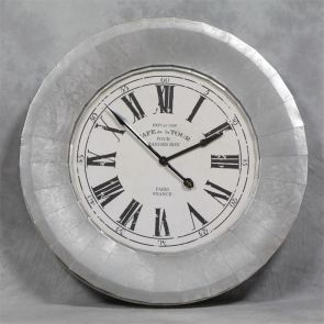 Wall Clock large silver frame paris
