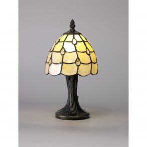 Camillie Table Lamp, 1 x E14, Black/Gold, Beige/Clear Crystal Shade IL3127Hs