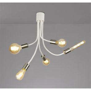Grace Flexible Ceiling 5 Light E27 Satin White/Satin Nickel IL3567HS