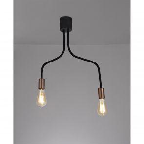 Grace Flexible Ceiling  2 Light E27, Satin Black/Brushed Copper IL4467HS