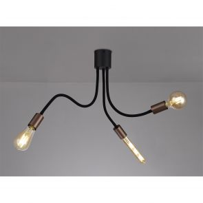 Grace Flexible Ceiling 3 Light E27, Satin Black/Brushed Copper IL5467HS