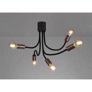 Grace Flexible Ceiling 5 Light E27, Satin Black/Brushed Copper IL6467HS
