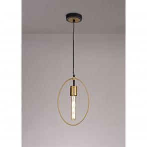 Hera Single Small Circle Pendant, 1 Light E27, Sand Gold/Matt Black IL0147HS