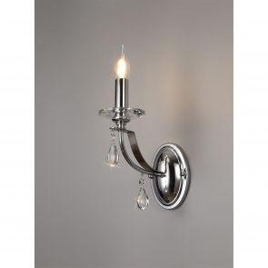 Karma Wall Lamp 1 Light E14, Polished Chrome/Satin Nickel/Clear Crystal IL3247HS