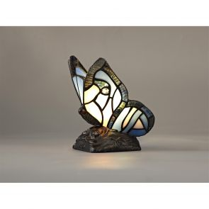 Mandy Butterfly Table Lamp, 1 x E14, Black Base With Blue/Pink Glass Crystal IL0