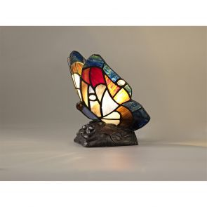 Mandy Butterfly Table Lamp, 1 x E14, Black Base With Blue/Brown Glass Crystal IL