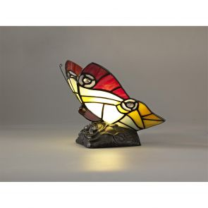 Mandy Butterfly Table Lamp, 1 x E14, Black Base With Red/Yellow/Blue Glass Cryst