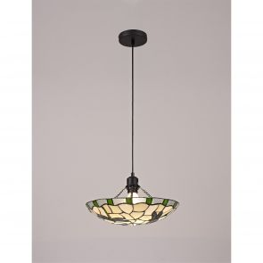 Olivia 1 Light Pendant E27 With 35cm Shade, Amber/Crachel/Clear Crystal/Black IL