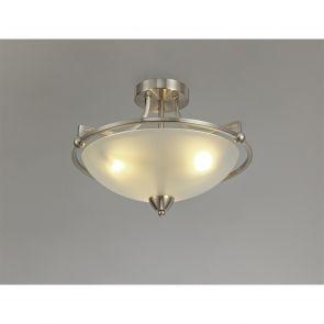 Priya Semi-Flush Ceiling, 3 Light E27, Satin Nickel/Frosted Glass IL2577HS