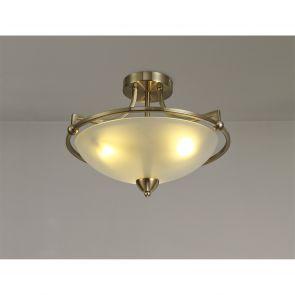 Priya Semi-Flush Ceiling, 3 Light E27, Antique Brass/Frosted Glass IL3577HS