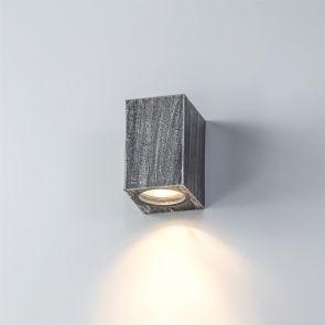 Sylvia Rectangle Wall Lamp, 1 x GU10, IP54, Black/Silver IL3227HS