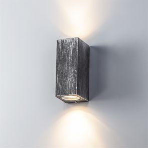 Sylvia Rectangle Wall Lamp, 2 x GU10, IP54, Black/Silver IL4227HS